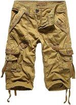 HEMOON Men's Twill Cargo Pocket 3/4 Shorts Military-Style