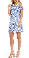 Jessica Howard Cold-Shoulder Printed Dress