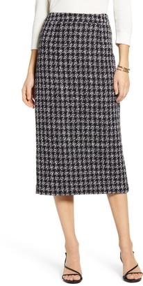Halogen Houndstooth Check Tweed Pencil Skirt