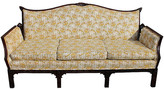 One Kings Lane Vintage Chippendale-Style Carved Sofa - Something Vintage - frame, brown; upholstery, multi