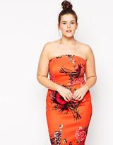 Asos Bouquet Placed Bandeau Dress in Longer Length