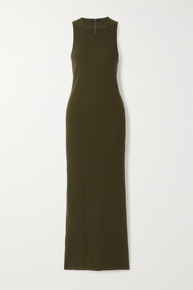 Bassike Ribbed Stretch Organic Cotton-jersey Maxi Dress - Green