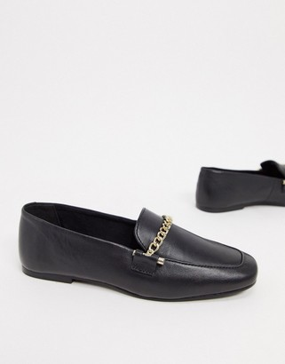 ASOS DESIGN Minute leather chain loafers in black