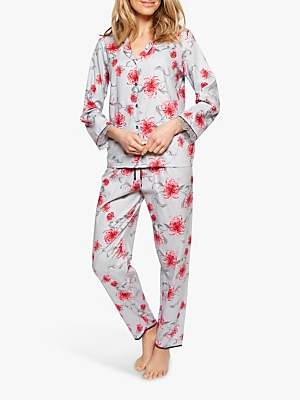 Cyberjammies Nora Rose by Nancy Floral Pyjama Set, Grey/Pink