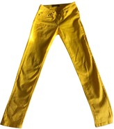 Roberto Cavalli Yellow Cotton Trousers for Women