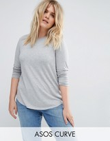Asos Long Sleeve Top With Skinny Crew Neck
