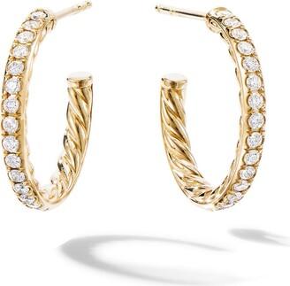 David Yurman 18kt yellow gold extra-small Pave diamond hoops