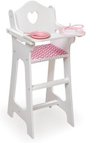 The Well Appointed House Doll High Chair with Plate/Bib/Spoon with a Chevron Print Seat