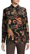 Etro Tiger-Print Silk Blouse