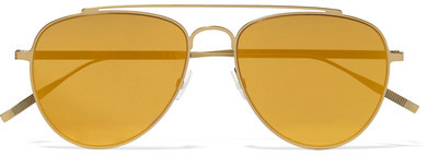 Tomas Maier Aviator-style Gold-tone Mirrored Sunglasses - Yellow