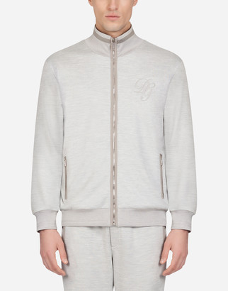 Dolce & Gabbana Zip-Up Cotton And Silk Sweater With Embroidery