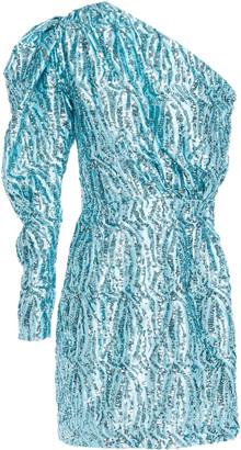 16Arlington One-shoulder Sequin-embellished Satin Mini Dress