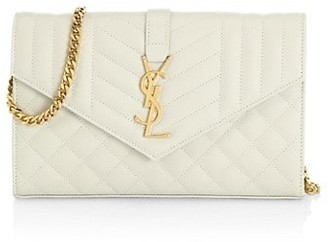 Saint Laurent Envelope Monogram Matelasse Leather Wallet-On-Chain