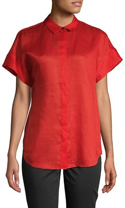 Lafayette 148 New York Antonella Short-Sleeve Button-Down Shirt