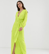 Asos Tall DESIGN Tall maxi dress with batwing sleeve and wrap waist in scatter sequin
