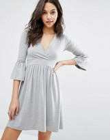 Boohoo Wrap Over Skater Dress With Fluted Cuffs