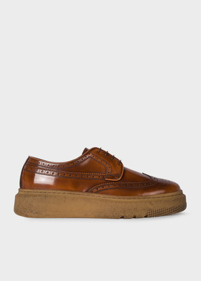 Men's Tan 'Nash' Leather Brogues With Rubber Soles