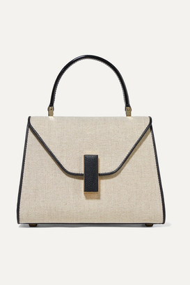 Valextra Iside Mini Linen And Textured-leather Shoulder Bag - Beige