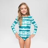 Vanilla Beach Girls' Scallop Trim Long Sleeve One Piece Swimsuit Tie Dye - Teal