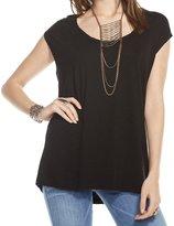 Chaser Womens Gauze Jersey Drape Back Muscle Tee - Black