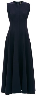 Norma Kamali Grace Raw-seam Panelled Dress - Navy