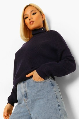 boohoo Petite Button High Neck Oversized Knitted Jumper