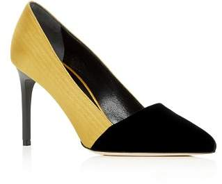 Oscar de la Renta Women's Color-Block Moiré & Velvet Pointed Toe Pumps