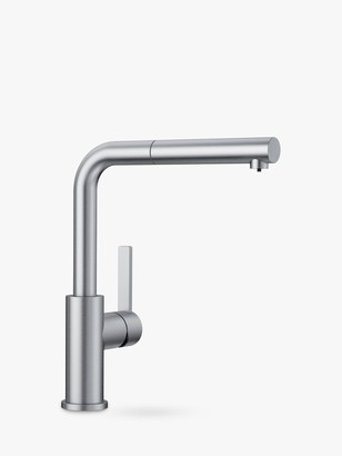 Blanco Lanora-S Pull-Out Spray Swivel Spout Single Lever Kitchen Mixer Tap, Brushed Steel