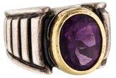 Lagos Two-Tone Amethyst Caviar Ring