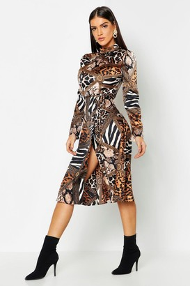 boohoo Mixed Animal Print Keyhole Back Midi Dress