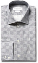 Richard James Slim-fit Cutaway-collar Patterned Cotton Shirt - Navy