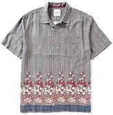 Tommy Bahama Short-Sleeve Brazilian Striped Floral Border Print Woven Shirt