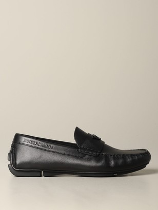 Emporio Armani Loafers Drive Loafer In Leather With Logo