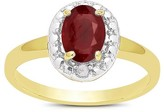 1.00 Carat TW Oval-cut Ruby and Diamond Accent Ring Gold Plated (IJ-I2-I3) (July)