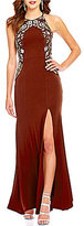 Xtraordinary Hourglass Beaded High Neck Strappy Open Back Long Dress