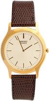 Seiko Vintage Gold/Dark Brown Leather Watch
