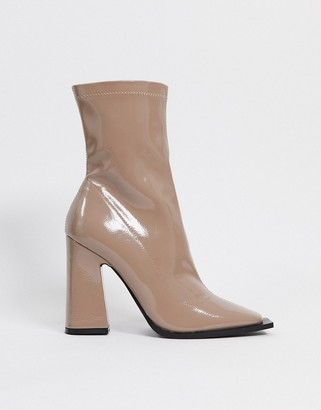 Raid Valencia patent heeled sock boots in taupe