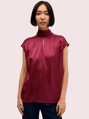 Kate Spade Satin Tie Neck Top