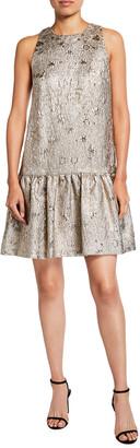 Lela Rose Metallic Sleeveless Drop-Waist Flounce Dress