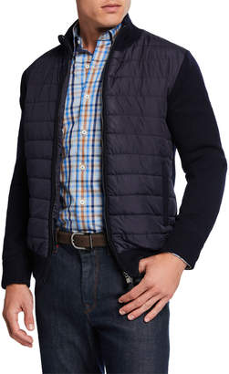Neiman Marcus Men's Quilted Jacket w/ Knit Sleeves