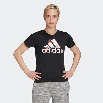 adidas Cotton Logo T-Shirt with Crew-Neck and Short Sleeves
