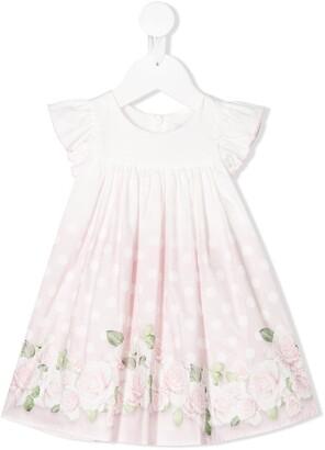 MonnaLisa rose-print polka dot A-line dress