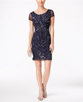 Adrianna Papell Petite Beaded Sequined Sheath Dress