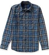 True Religion Long-Sleeve Indigo Western Plaid Shirt