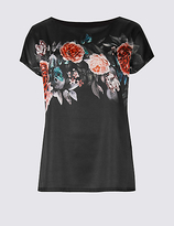M&S Collection Textured Satin Front Floral Print T-shirt