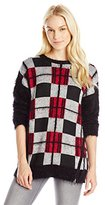 Buffalo David Bitton Women's Beplaid Fuzzy Plaid Pullover Sweater