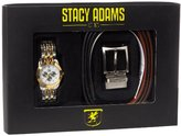 Stacy Adams Men's Reversible Belt and Gold Watch Gift Set