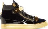Giuseppe Zanotti Navy Velvet High-Top Sneakers