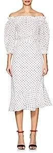 Saloni Women's Grace Polka Dot Silk Midi-Dress-White