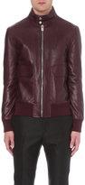 Bally Merlot Leather Bomber Jacket